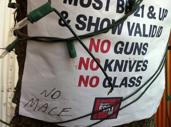 """No mace"" -- and oh yeah, no hand grenades, either."
