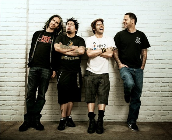 NOFX, with Fat Mike second from right.
