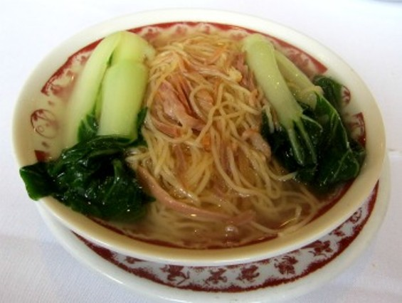 Noodles in ham broth