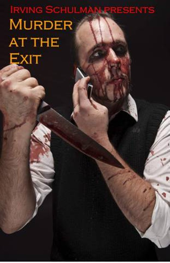 Not only does this scene not appear in Murder at the Exit; we're pretty sure this guy isn't an actor in it either. Such are the hijinks of Catchy Name Theatre Co.