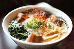 LARA HATA - Not your basic ramen noodles: - The Saiwaii tonkotsu with pork belly, seaweed, and red chile.
