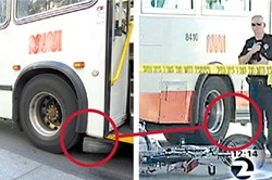 "LEFT: PHOTOGRAPH BY EVAN DUCHARME. RIGHT: KTVU CHANNEL 2 - Now you see it, now you don't: An ""S-1 Gard"" is missing from the bus that killed Chang Jin Lai."