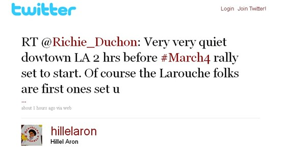 Of all the things you can accuse LaRouche conspiracy theorists of, lack of punctuality isn't one of them