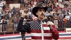 OK Can You See: Borat mangles the national anthem at a Virginia rodeo.