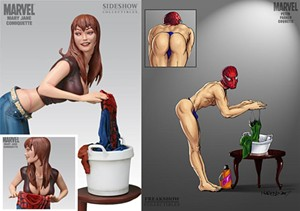 On left, the controversial statuette showing Mary Jane Watson washing Spider-Man's uniform; on right, a parody by blogger Logansrogue, showing Spidey in her place.