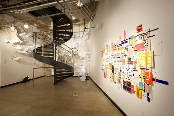 On the left is Val Britton's Burst Apart, and on the right is Tucker Nichols' Untitled (mp1111).