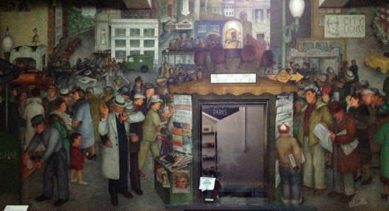 One of the murals depicting a slice a San Francisco life circa the 1930s—complete with a gun in hand robbery. - JUAN DE ANDA