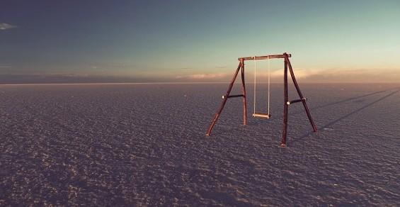 One of Waldman's swings hangs in the Salar de Uyuni, Bolivia. - JEFF WALDMAN