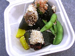 JOHN BIRDSALL - Onigilly's Lunch Set: chicken, eggplant, and hijiki onigiri.