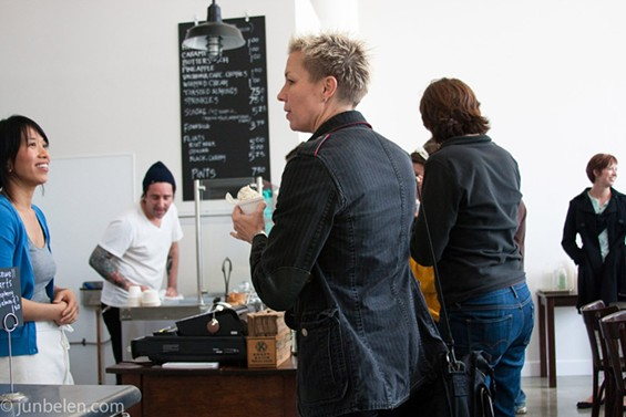 Orson/Citizen Cake owner Elizabeth Falkner (center) stopped by to check it out. - JUN BELEN