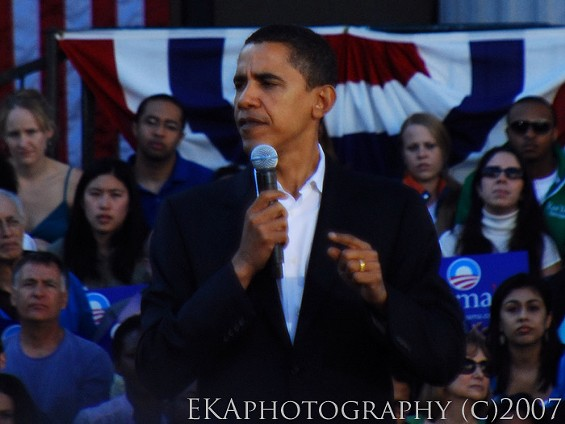 Our shoulder-brushin', fist-bumpin'  POTUS in Oakland, 2007 - EKAPHOTOGRAPHY COPYRIGHT 2007. ALL RIGHTS RESERVED
