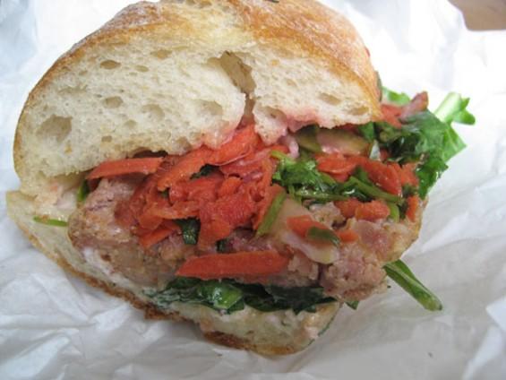 Pal's Lao sausage sandwich, $8. - JONATHAN KAUFFMAN