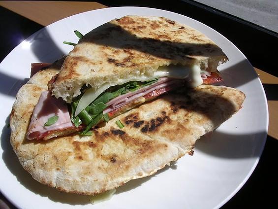 Panouzzo with mortadella, prosciutto cotto, soppressata, and provolone ($11.95). - JOHN BIRDSALL