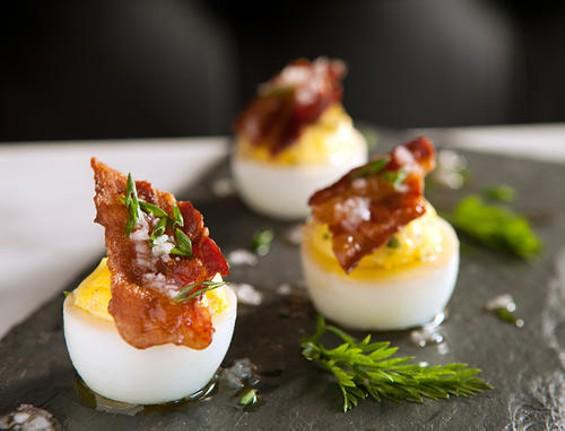 Park Tavern's smoked deviled eggs. - MELISSA BARNES