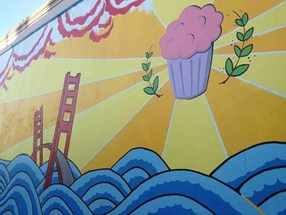 Part of the outdoor mural at Let's Cupcake. - TAMARA PALMER
