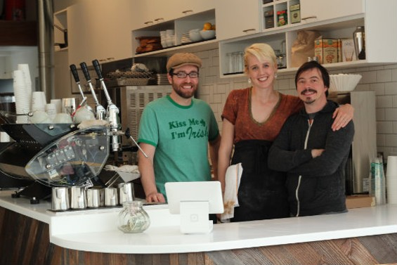 Patrick Chaffey (Orivor) with Lauren Crabbe and Michael McCrory (Andytown). - MOLLY GORE