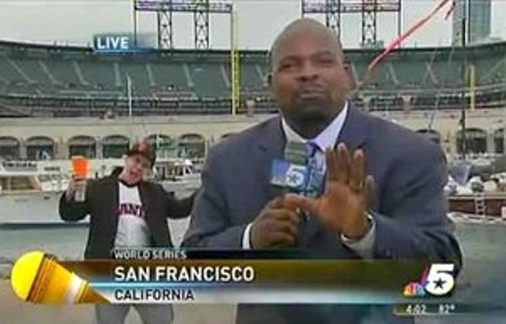 'People smokin' weed over there!' By the way, that is a vintage, pre-1993 jersey on the Giants fan.