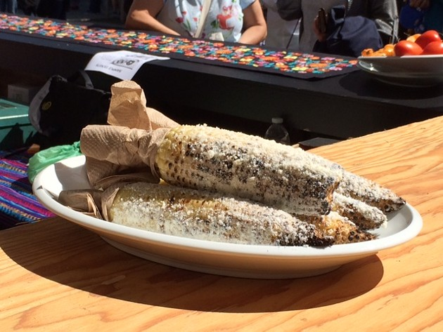 Perfectly roasted and seasoned elotes.