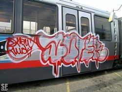 Perhaps this graffiti artist was displeased with Muni's budget as well...