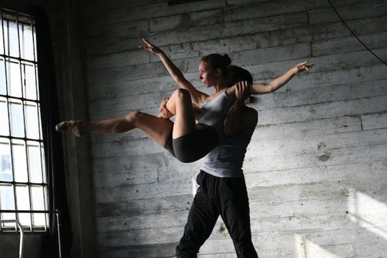 Photo of Rachel Furst and Ben Needham Wood in rehearsal for Seiwert's The Devil Ties My Tongue by Weston Krukow