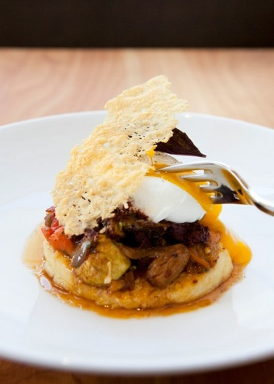 Piccino's semolina gnocchi with roasted vegetables and black olive sauce. - MELISSA BARNES