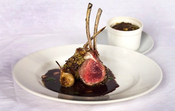 Pistachio-crusted rack of lamb is a favorite at LV Mar. - LV MAR