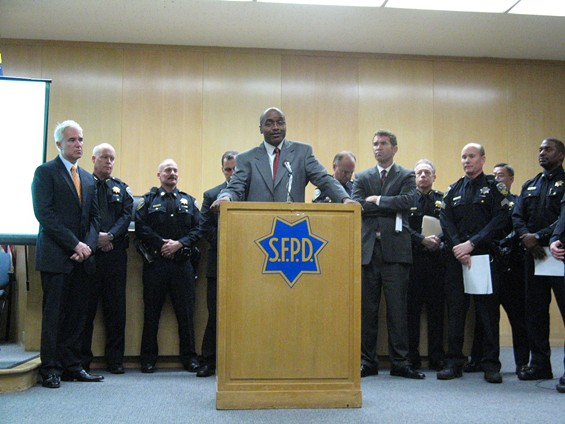 Police Commission President Joe Marshall (center) supports SFPD Chief George Gascon (far left) on the use of TASERs