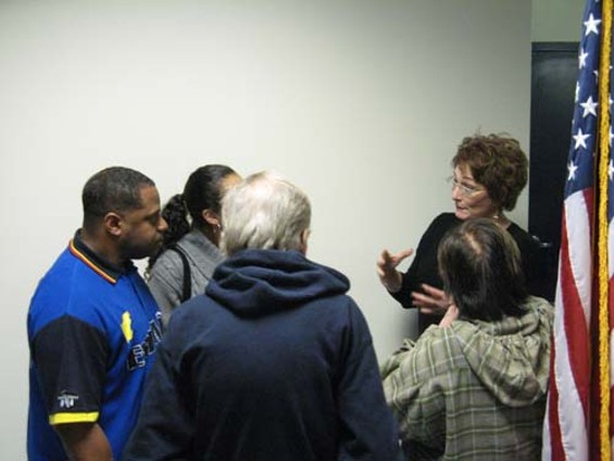 Police Commission President Theresa Sparks (right) talks it out - PETER JAMISON
