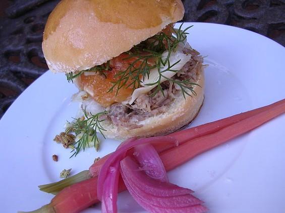 Pork conserva sandwich with citrus-fennel salad, $7.50. - JOHN BIRDSALL