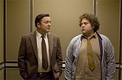 Porky schlub Mark (Ricky Gervais, left) suddenly learns how to fib his way out of a mess.