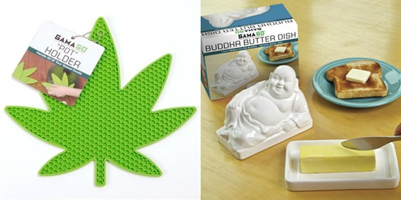 Pot holder and Buddha butter dish by Gama Go.