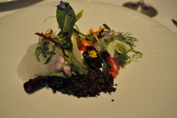 "Potato, parsnip, and roasted chicory ""dirt"" on a Manresa platescape. - SUZI EDWARDS/FLICKR"