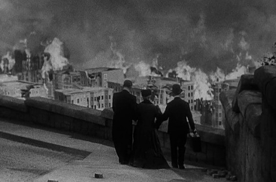 P.O.V. shot from W.S. Van Dyke's San Francisco (1936) which recreates the Great Quake of 1906 and the subsequent fires.