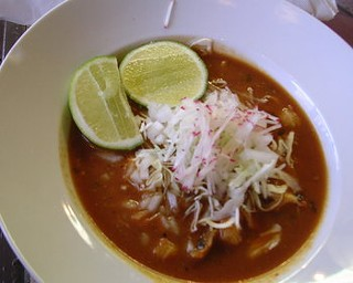 Pozole, topped with a julienne of radish and finely shaved cabbage. - J. BIRDSALL