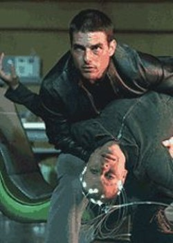 Pre-Crime Doesn't Pay: Tom Cruise and Samantha - Morton preventing imminent misdeeds.