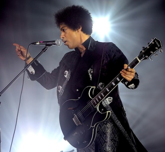 Prince performing on the Live Out Loud tour. (File image; photos were not allowed in S.F. last night.)