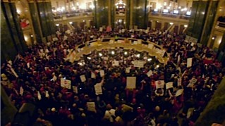 Protesters against Gov. Walker's anti-union bill fill the rotunda in the Wisconsin State Capital - COURTESY OF VARIANCE FILMS / ELSEWHERE FILMS
