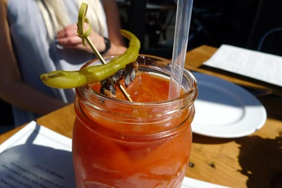 PT Bloody Mary, topped with a beef jerky-laced skewer
