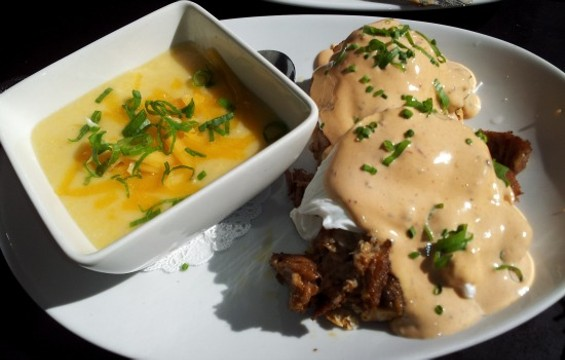 Pulled-pork benedict at Fused. - PETE KANE