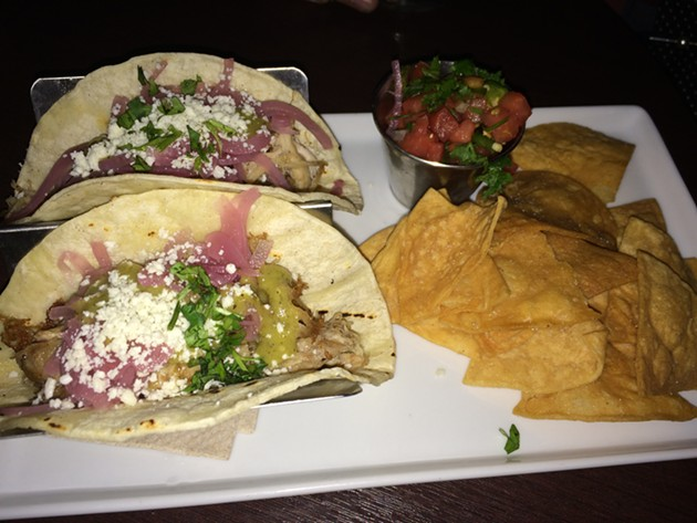 Pulled pork tacos (with super-spicy pico de gallo). - PETE KANE