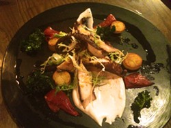 Pulpo a la plancha, with piquillo peppers, fingerling potatoes, paprika, basil oil and Labne yogurt - PETE KANE