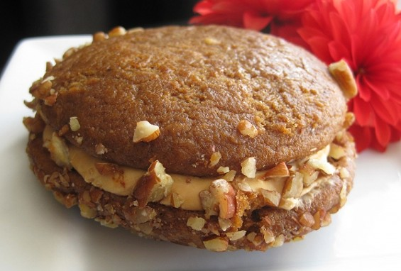 Pumpkin whoopie pie with caramel frosting. - JASON AND STEVE/OUR FOOD CHOICES™
