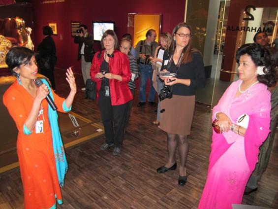 Qamar Adamjee talks royal spending as Princess Asha Raje Gaekwad listens.