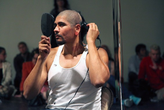 Rafael Esparza performs at SOMArts. - KATE CONGER