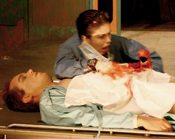 Rafaella Marques of Brazilian troupe Vigor Mortis has a gruesome surprise during an operation in The Forsaken Laboratory - KEITH BOWERS