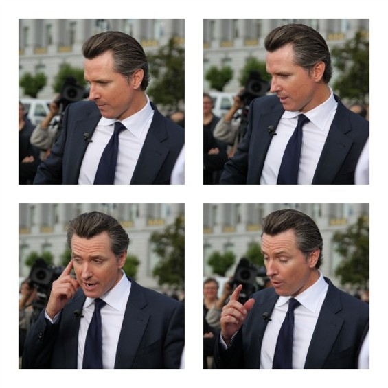 R&B Singer Gavin Newsom, outside of City Hall on Wednesday, June 26. - JOSEPH GEHA