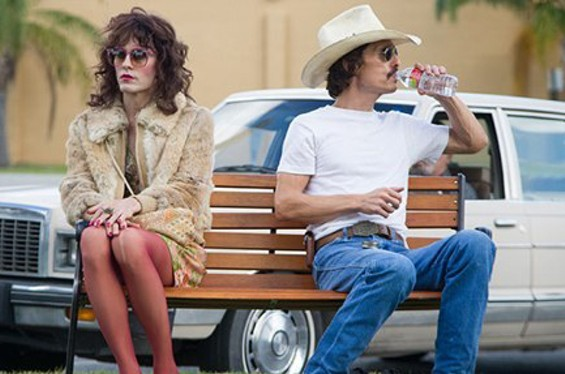 Rayon (Jared Leto, left) and Woodroof (Matthew McConaughey) in Dallas Buyers Club, now on DVD/Blu Ray.