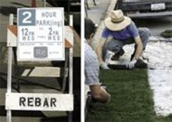 PHOTOGRAPHS BY ANDREA SCHER - Rebar created a fake construction sign, then unrolled the sod for PARK(ing).