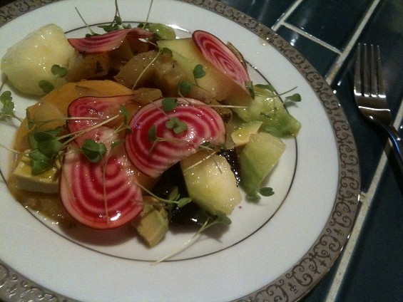 Recent salad of beets and green tomatoes at Local Mission Eatery. - JOHN BIRDSALL