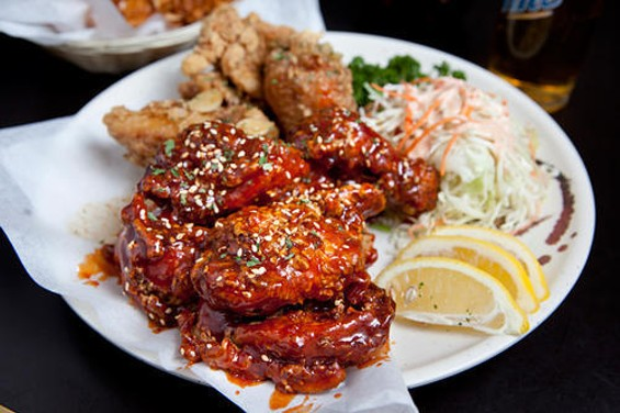 Red Wings' yani wings, front; K-pop wings, back. Combo, with beer: $26.90. - KIMBERLY SANDIE